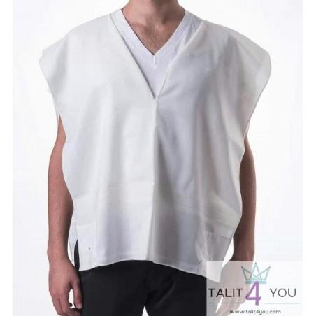 Talit katane en laine légère avec bandes blanches