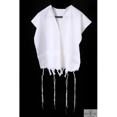 Talit Katane laine bande blanche