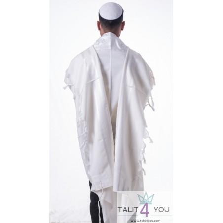 Talit Gadol Tsemer Alef Alef blanc