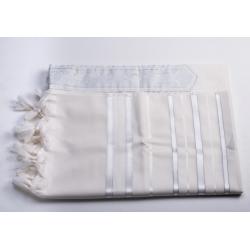 tallit for children bright white stripes