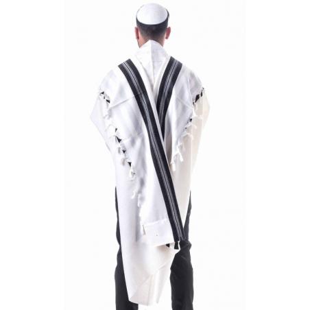 Tallit Shabbat with black stripes
